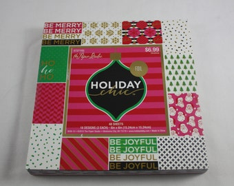 6 x 6 Paper Pad Christmas Paper Scrapbook The Paper Studio Holiday Chic 48 Sheets 3 Of Each 16 Designs Foil Holiday Card Stock