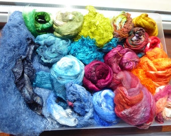 Luxury hand dyed silk selection a great mix of colour and textures - LMSP15