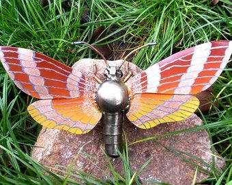 Metal sculpture Sphinx Moths, Sphingidae Moth.  Mechanical butterfly figurine. Welded butterfly. Metal butterfly. Sculpture butterfly. Moth