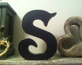 Free-standing Wooden Letter 'S' - Victorian Style - 25cm, various colours and finished