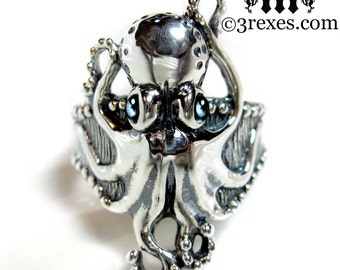 Silver Octopus Ring Blue Topaz Eyes December Birthstone Size 8