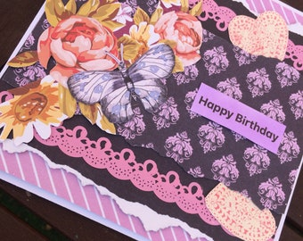 Happy birthday floral greetings card note card for a loved one with a purple butterfly