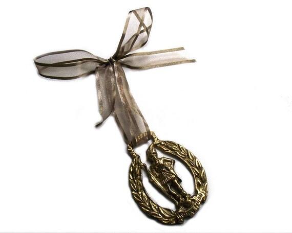 Vintage Robin Hood Horse Brass on Ribbon