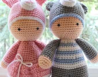Crochet Amigurumi Cute Twin Baby Dolls PDF Pattern Stuffed Toy Pink Blue Baby Shower Gift