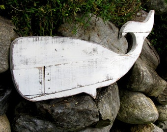 Painted and Distressed Reclaimed Wood Whale Home Decor