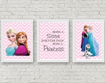 Frozen Wall Prints - Set of 3 - Frozen Sister Prints - Frozen Wall Art