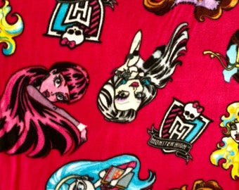 Monster High Fleece Featuring Draculara, Frankie Stein, Ghoulia Yelps, Cleo de Nile, Clawdeen Wolf, and Lagoona Blue