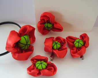 Poppy Set of 5 items, Headband, Flower girl headband, Girls red headband, poppy, hair accessory, red flower, barrette, gift card