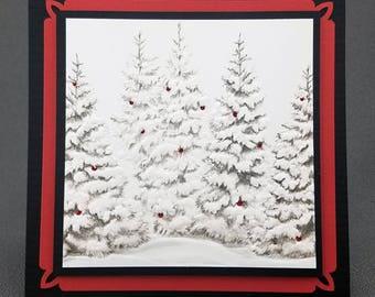 Handmade Christmas Snowy Trees  Card