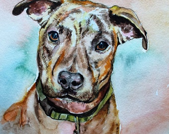 Custom Watercolor Dog Portrait, Pet Portrait from Photo, Custom Pet Art
