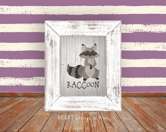 Woodland Raccoon Print, 8x10 Digital Print, Farmhouse/Primitive Nursery Wall Art, Home Decor, Woodland Art, Printable #260