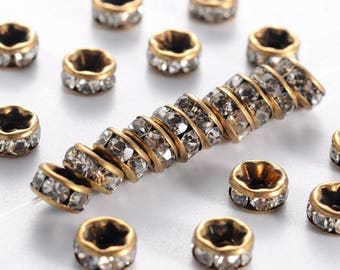 10 spacer beads 5 mm of brass and Crystal rhinestones.