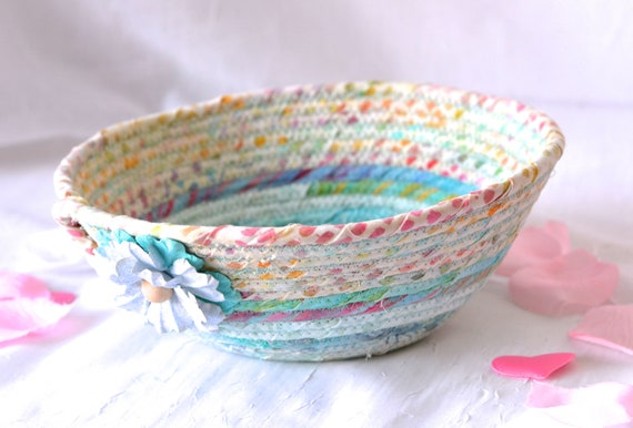 Artisan Boho Basket, Handmade Blue Batik Bowl, Candy Dish, Quilted Cotton Basket, Rustic Chic Fabric Bowl, Coiled Change Bowl
