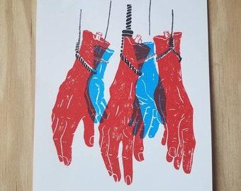 United We Stand Limited Edition Silk Screen Print / Patriotic Irony Original Illustration / Liberal Art