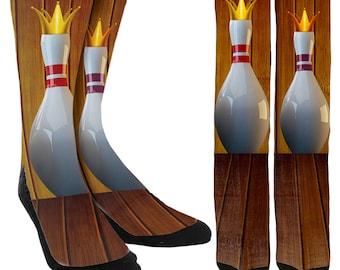 Bowling Pin Crew Socks - Bowling Socks - Bowling Pin Socks - Unique Socks - Novelty Socks - Clothing - 100% Comfort - FREE Shipping A80