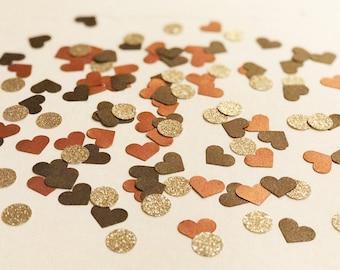 Copper Hearts and Champagne Dots | Confetti | The Fall Bride | Centerpieces | Champage | Copper