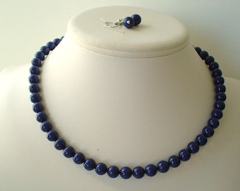 Single Strand Dark Lapis Blue Swarovski Pearl Beaded Necklace and Earring Set    Great Brides or Bridesmaid Gifts