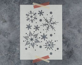 Snowflakes Pattern Stencil - Beautiful Christmas Stencil of a Snowflake All Over Pattern - Perfect for Christmas Crafts!