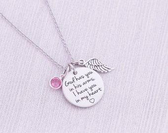 God Has You in His Arms Pendant with Angel Wing and Birthstone - Hand Stamped Jewelry - Memorial Jewelry - Engraved Necklace