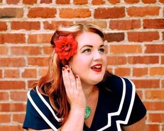 Red Rose Hair Clip, Flower Hair Clip, Red Flower, Red Rose, Pinup Rose - Pinup Rockabilly Rose