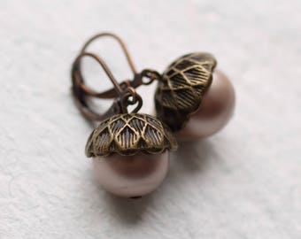 Acorn Earrings, Pink Acorn Earrings, Pink Pearl Earrings, Autumn Jewelry, Fall Gifts, Natural Jewelry