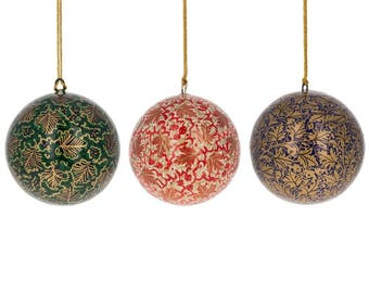 """3"""" Set of 3 Golden Leaves Oriental Paper Mache Christmas Ball Ornaments"""