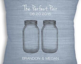 Mason Jar - Custom Name Date Pillow - Country Wedding Gift - Rustic Wedding - Mason Jar Personalized Wedding Gift Idea