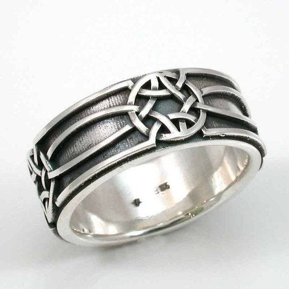 Mens Silver Ring Celtic Knot Oxidized Sterling  - Handmade