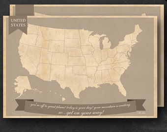 United States Travel Maps - Printable USA Travel Map Instant Download - A1 US Wall Art - 2 pack - With Text or Add your own text