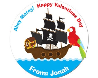 Personalized Valentines Day Stickers Pirate Ship Ahoy Matey  Round Glossy Designer Stickers