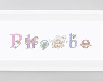 Framed Wall Art for Baby's Room, Baby's Name in Animal Alphabet Letters