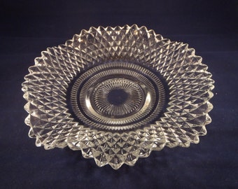 Vintage Pressed Glass Diamond Point Candy Dish