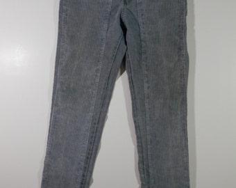 30 W x 34 L Cotler Designer Punk Jeans Casual Gray Denim Corburoy High Waist Skinny Fit Straight Leg Rockabilly Indie Western Boyfriend Jean
