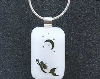 Sterling Silver and Fused Glass Pendant_ Mermaid