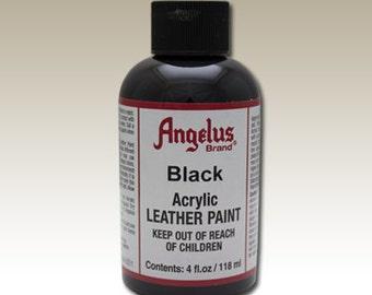 Black Angelus Acrylic Leather Paint - 4 oz Bottle