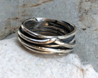 Sterling Silver Ring, Silver Wire Wrapped Ring, Organic Oxidized Band, Statement Ring, Silver Wire Ring, Wire Wrapped wedding Band K#547