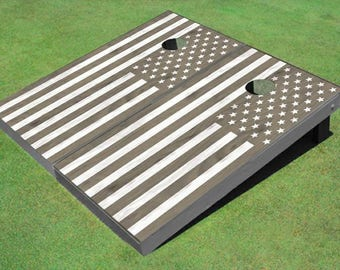 Gray Rustic American Flag Themed Cornhole Boards