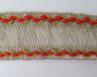 5 Yards Beige Trim with red and green edging
