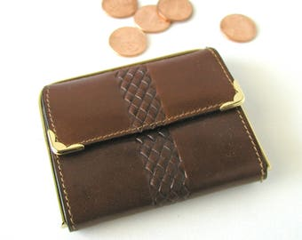 Vintage FIOCCHI Small Brown Leather Coin Purse 2 Compartments Made In Italy