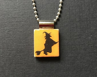 Witch Silhouette Halloween Pendant, handmade halloween jewelry, scrabble tile jewelry, flying witch necklace, witch on a broom pendant, gift