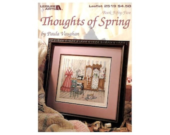 Thoughts of Spring Cross Stitch Leaflet, Paula Vaughan, Sewing Machine Cross Stitch, Vintage Cross Stitch, by NewYorkTreasures Etsy