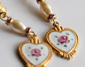 Mother's Day Gift, Vintage Enamel Hearts with Vintage Pearl Earrings, Shabby Chic Pink Rose Earrings,Heart Earrings,Birthday Gift for her