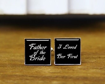 Custom Wedding Cufflinks, Custom Name, Date Cuff Links & Tie Clip, Father Of The Bride, I Loved Her First, Groom Cufflinks, Wedding Gifts