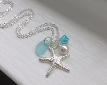 Aqua Blue Sea glass and Starfish Necklace