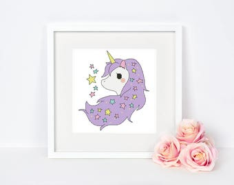 Unicorn Cross stitch pattern Nursery Little pony Alicorn Cute Baby room Kids Wall decor Modern Colorful Star Instant download PDF #060