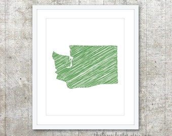 State of Washington Art Print - Custom State Poster - Emerald Green - Modern Minimalist Wall Art