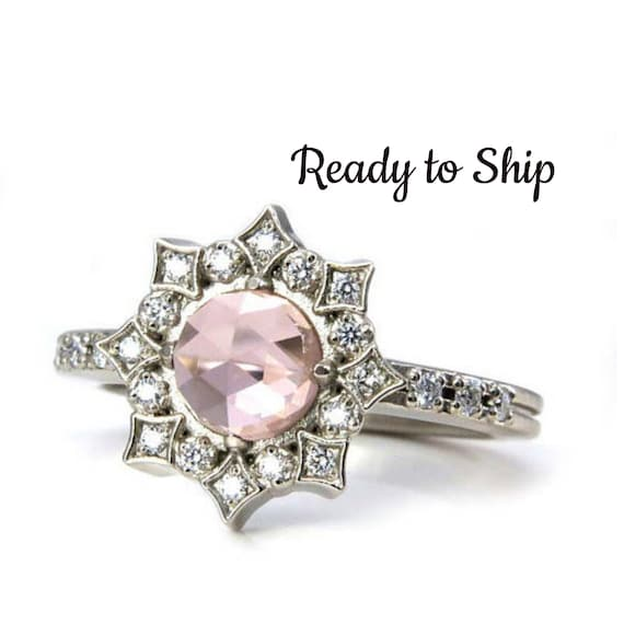 Ready to Ship Size 6-8 Lab Morganite Diamond Mandala Engagement Ring - Bohemian Engagement 14k Palladium White Gold