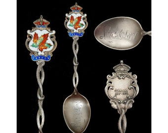 Vintage Sterling Silver LUCKNOW Canada Enameled Souvenir Demitasse Spoon