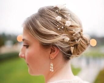 Bridal hair accessories Wedding Floral crown Wedding crown Bridal flower headpiece Gold crown Cream Flower crown Bridal headpiece flower 20