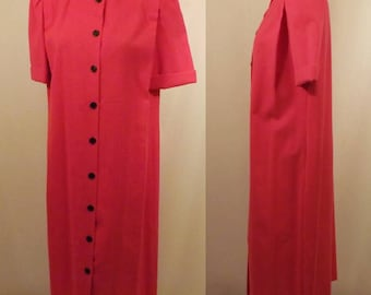 70's Leslie Fay Petites Red Shift Day Dress Size 6